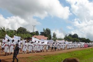 Clad in white and army green skirts in the centre, the JCRC Nurses matched along with other nurses through Kapchorwa town.